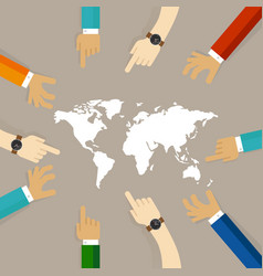 world map together hands pointing together concept vector image vector image