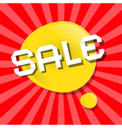 Yellow sale bubble icon on red backgound vector