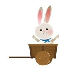 rabbit cartoon in wagon icon vector image