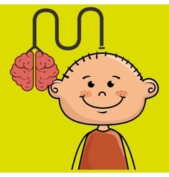Boy kid brain cable idea vector