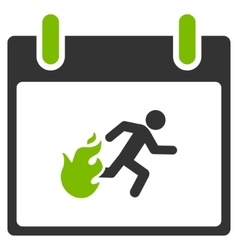 Fire Evacuation Man Calendar Day Flat Icon vector image