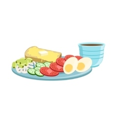 Toast egg vegetables and coffee breakfast food vector