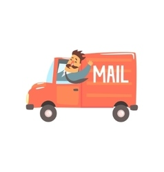 Postman driving red mail truck smiling vector