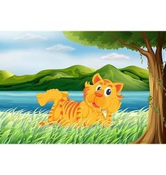 A tiger relaxing at the grass vector