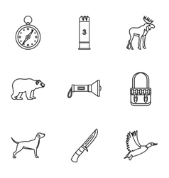 Hunting icons set outline style vector