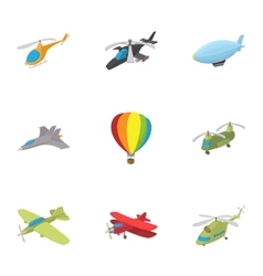 Flying vehicles icons set cartoon style vector