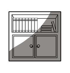wooden table furniture cabinet books design vector image