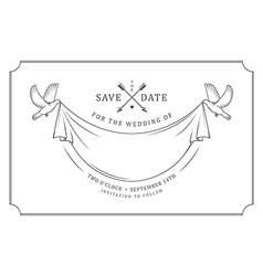 Vintage wedding invitation stamp vector