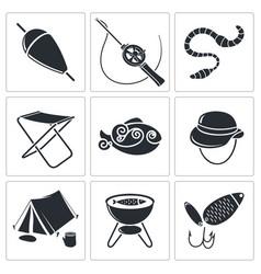 Fishing Icons set vector image