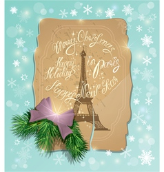 Vintage postcard with the eiffel tower handwritten vector