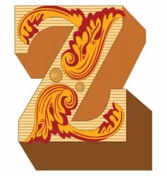 3d vintage letter z vector image vector image