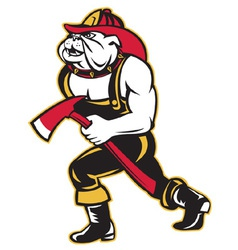 Bulldog fireman with axe vector