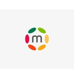 Color letter m logo icon design hub frame vector