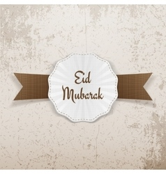Eid mubarak greeting badge with ribbon vector