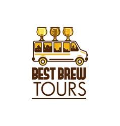 Beer flight glass van best brew tours retro vector