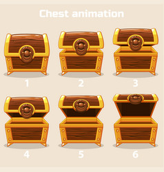 animation step by step open and closed wooden vector image vector image