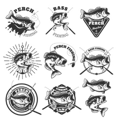 Bass fishing labels Perch fish Emblems templates vector image