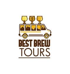 Beer flight glass van best brew tours retro vector