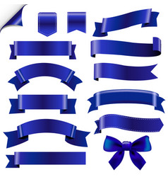 big blue ribbons set vector image vector image