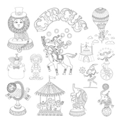 Black and white line art drawings collection of vector