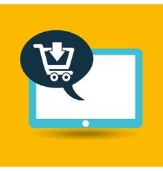blue tablet cartoon e-commerce design vector image