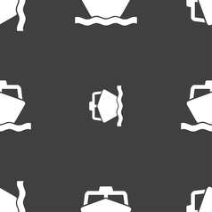 boat icon sign Seamless pattern on a gray vector image vector image