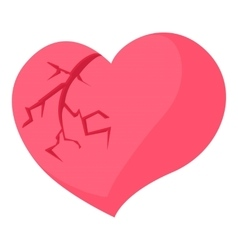 Broken heart icon cartoon style vector image