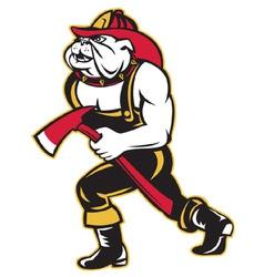 Bulldog fireman with axe vector
