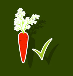 Carrot sticker icon carrot icon on background veg vector