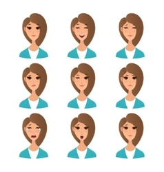 Cartoon girl emotion faces vector