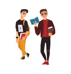 cartoon young teen students set vector image