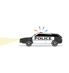 Colored police car with siren flat design vector