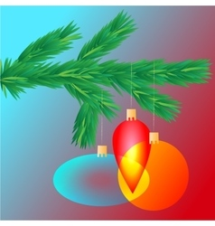 Colorful transparent christmas ball on spruce vector
