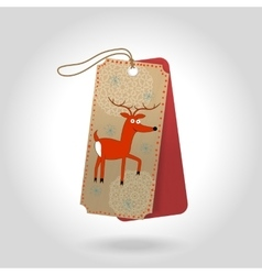 cute Christmas gift tags with cheerful red vector image