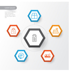 E-commerce icons set collection of cardboard vector