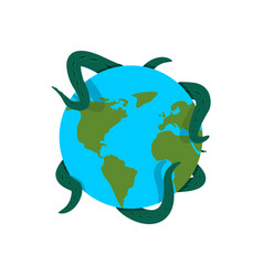 earth in tentacles of monster cthulhu conquest of vector image
