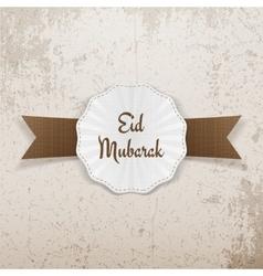 Eid mubarak greeting badge with ribbon vector