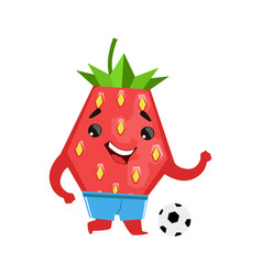 Football player strawberry with a ball cute vector