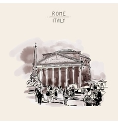 Freehand watercolor sepia travel card from rome vector