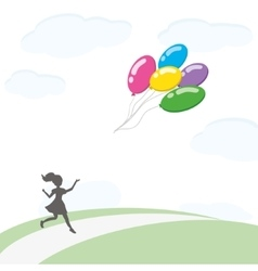 Girl with balloons2 vector
