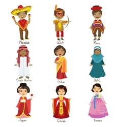 Kids in national costumes set vector