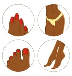 Manicure pedicure and bodycare concept Icon set vector image