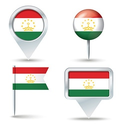 Map pins with flag of Tajikistan vector image