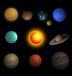 Planets solar system and sun vector