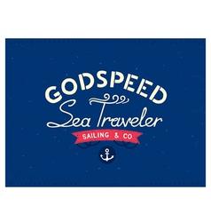 Retro marine travel postcard vector