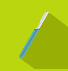 scalpel with blue handle icon flat style vector image