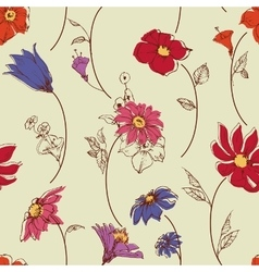 Scattered flowers seamless pattern vector image vector image