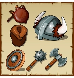 Set of the vikings weapons and equipments vector