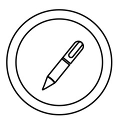 Silhouette circular frame with silhouette pen icon vector