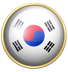 South korea flag on round button vector